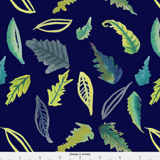 Navy Blue Leaves Fabric Printed by Spoonflower BTY