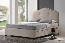 MODERN QUEEN OR KING BED FRAME STORAGE DRAWERS BEIGE LINEN UPHOLSTERED HEADBOARD