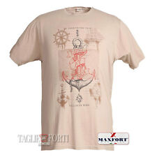 Maxfort Maxfort Extra large men's printed t-shirt short sleeves 25613 beige