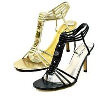 Beaded high heel party sandals with ankle straps - 2 colours