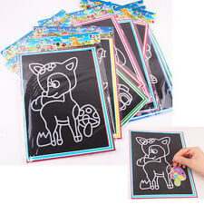 Colorful Scratch Art Paper Magic Painting Paper with Drawing Stick Kids Toy F2K