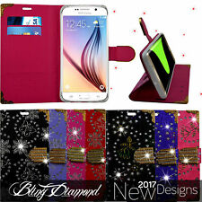 Bling Diamond Sparkly Flip Wallet Leather Case For Various Mobile Phone Models