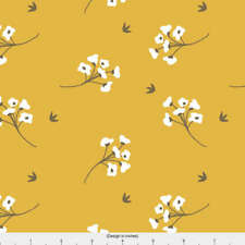 Mustard Cotton Blossom Fabric Printed by Spoonflower BTY