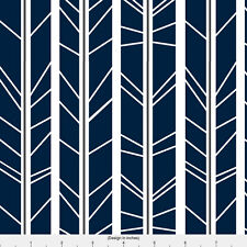 Navy Blue Abstract Stripe Fabric Printed by Spoonflower BTY