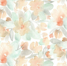 Orange and Blue Watercolor Blossom Fabric Printed by Spoonflower BTY