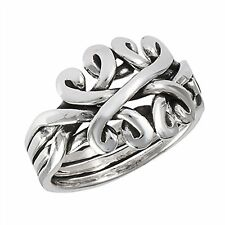 PUZZLE Ring .925 Sterling Silver Celtic Knot Puzzle Band Ring Size 6-10