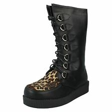 SALE Spot On F50018 Ladies Black/Leopard Creeper Style Boots