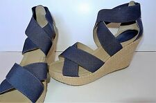NWOB Kenneth Cole Reaction Sole Lay Open Toe Canvas Wedge Heel