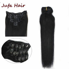 Brazilian Straight Clip In  Human Hair Extensions Real Remy Hair Weft 7pcs 70g
