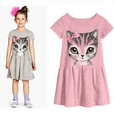 Cotton Kids Dresses for 2-7 Years Girls Summer Baby Short Sleeve Dress Clothing
