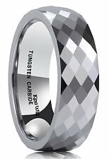 CLASSIC Men's 8MM Multi Faceted Tungsten Carbide Ring Polished Wedding Engagemen