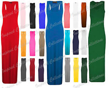 Plus Size Womens Racer Back Plain Maxi Dress Bodycon Sleeveless Ladies Sexy Long