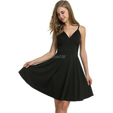 Meaneor Women Strap Pleated Dress High Waist V-neck Solid Casual Party Knee OK02