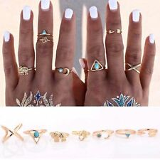 Plated 7 PCS/Set Jewelry Gypsy Gift Finger Elephant Vintage Rings Turquoise