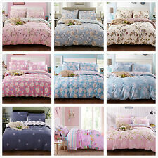 100%Cotton Floral Quilt Doona Duvet Covers Set King Single Queen Size Bed Linen