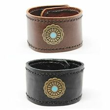 Genuine Leather Handmade Cuff Wrap Wristband Bracelet Charm Black Brown Dad Gift