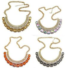 New Charming Gold Plated Chain Rhinestone Crystal Collar Pendant Necklace