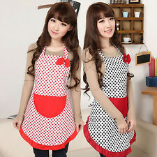 Women BowKnot Dot Aprons Kitchen Restaurant Cafe Bib Cooking With Pocket Natural
