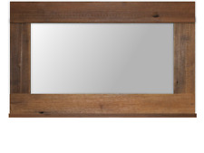 rustic recycled hardwood aged timber wooden framed frame mirror with ledge