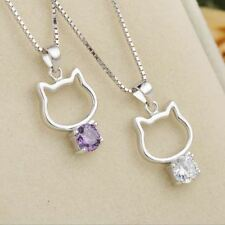 Kitty Kitty 925 Sterling Silver and Crystal Cat Pendant Necklace
