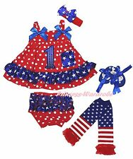 Birthday 1ST 4th July Star Red Dot Baby Swing Top Bloomer Leg Warmer Shoes NB-2Y