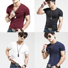 Men Muscle Compression Short Sleeve Plain Crew Neck Fitness Tight T Shirts Tops