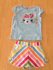 Gymboree Embroider Button Seal Tee Top Chevron Short Skirt 2T Rainbow Cabana New