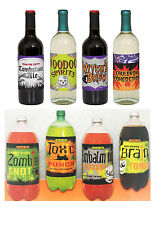 Halloween Wine Soda Bottle Labels 4 Pack Party Decoration Accessories Stickers