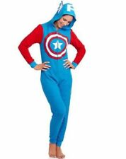 NEW Women's Captain America Costume One Piece Hooded Pajamas Union Suit SZ 2XL