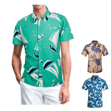 Mens Hawaiian Shirt Summer Beach Holiday Aloha Casual Short Sleeve Shirts