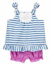 NWT Gymboree Hippos and Bows Stripes Top short Set 0 3 6 9 12 18M