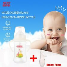Baby Bottles + breast pump PP Baby Feeding Bottle With Straw/Handle Wide-neck AU