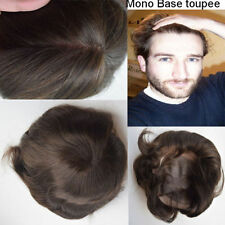 Men's Mono Wig Toupee Replacement Systems Natural Human Hair Toupee Mens Toupee