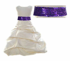 Ivory Flower Girl Dress Wedding Formal Pageant Bridesmaid Mesh sash 2 4 6 8 10