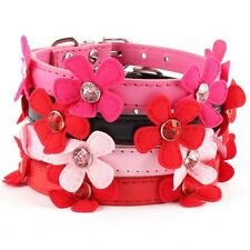 Small Pet Dog Flower Neck Strap Puppy Cat PU Leather Collar Buckle Adjustable