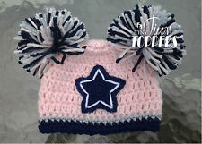 Crocheted DALLAS COWBOYS Hat Cap beanie baby girl ears or pom poms PINK