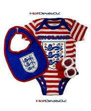 Brand New England Football 3 Piece Baby Set Red - Bodysuit Romper, Booties, Bib