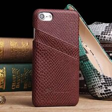 Snakeskin Pattern Leather Skin Back Cover Card Slot Case For Apple iPhone 7 Plus