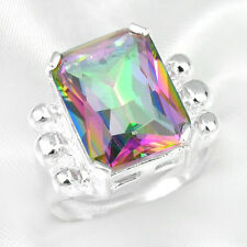 Super Huge Rectangle Rainbow Fire Mystic Topaz Gems Silver Woman Ring Size 7 8 9