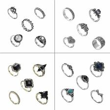 5 Pcs/set Women Fashion Jewelry Rings Vintage Silver Plated Crystal Stone Party