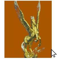 Decor 24K Gold And Silver Plated Pegasus Bronze Sculpture Statue FigurineBM