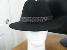 NWT DORFMAN PACIFIC FOUR SEASONS BLACK FEDORA 100% WOOL WATERPROOF CRUSHABLE HAT