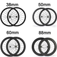 24 38 50 60 88mm Clincher Tubular Road Bike Racing Touring Carbon Wheels Bicycle