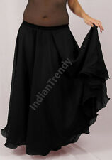 Black - 2 Layer Reversible Skirts Belly Dance Gypsy 9 Yd Fulll Circle Jupe Gonna