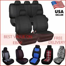 Car Seat Covers Set W/ 5 Headrests Full Solid Bench for Auto SUV(Fits: Seat) OY