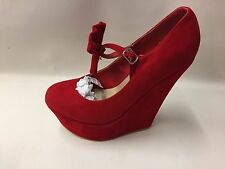 New Boxed Women's Pretty Red Faux Suede with Bow Wedge Platform Court Shoes UK 5