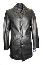 Men's Classic Trench Coat Black Italian Tailored Fit Real Nappa Leather Jacket