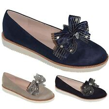 New Womens Slip On Faux Suede Diamante Bow Loafers Formal Casual Sneakers Shoes