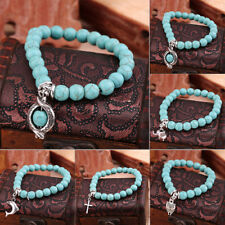 Vintage Retro Turquoise Bead Mixed Charm Bracelet Stretch Bangle Gift ULS