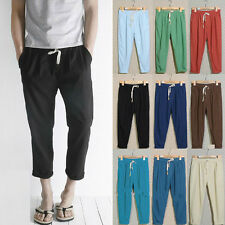 Unisex Harem Linen Tousers Baggy Sport Summer Cropped Pants Oversize Soft Casual